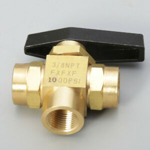 3 Way Brass Ball Valve 3 8 Npt L port Panel Mount Instrument Oil Water Gas Us