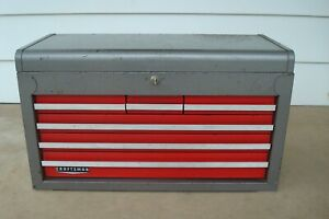 Vintage Craftsman 6 Drawer Tool Chest Top Box Tool Box 65272 With Key 1 Of 2
