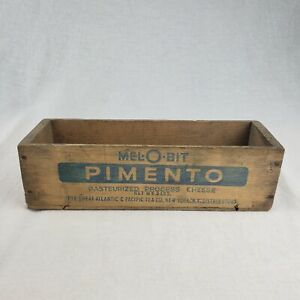 Vintage Wooden Mel O Bit Pasteurized American Process Cheese Box Primitive Crate