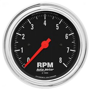 Autometer 2499 Traditional In Dash Electric Tachometer With Black Dial Face