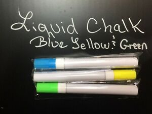 Blue Green Yellow Liquid Chalk Markers set Of 3 For Synthetic Slate Chalkboard