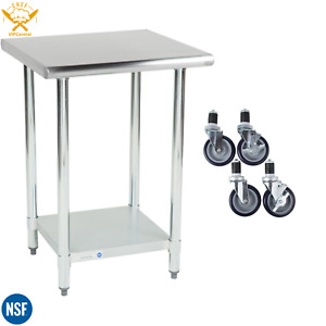 24 X 24 Stainless Steel Work Prep Table Commercial Kitchen Undershelf W Casters