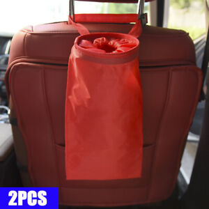 Car Trash Can Dust Bin Storage Bag Organizer Garbage Washable Foldable Red A03