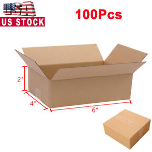 100 6x4x2 Cardboard Paper Boxes Mailing Packing Shipping Box Corrugated Carton