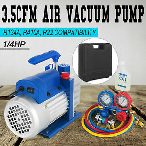 Combo 4 Cfm 1 3hp Air Vacuum Pump Hvac R134a Kit Ac A C Manifold Gauge Set New