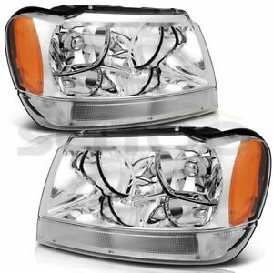 Headlights Assembly For 1999 2004 Jeep Grand Cherokee Left Right Chrome Headlamp