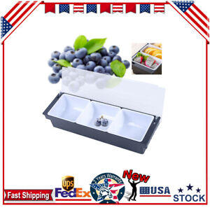 New Plastic Condiment Caddy Tray With Removable Compartments New Bar 3 Boxes