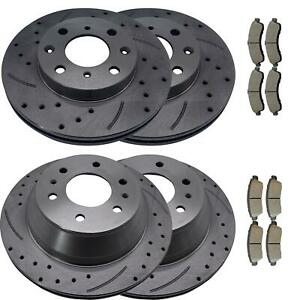 Front rear Brake Rotors Ceramic Pads For Buick Rainier Olds