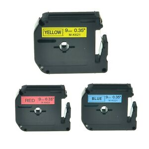 3pk Mk421 Mk521 Mk621 Red Blue Yellow Label Tape For Brother P touch 3 8