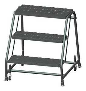 Ballymore 326x 28 1 2 In H Steel Rolling Ladder 3 Steps 450 Lb Load Capacity