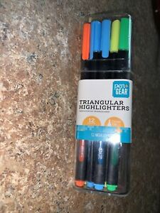 New 12 Count Triangular Highlighters W Chisel Tip In Case Pen Gear