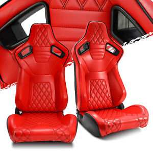 Red Diamond Leather Rear Black Carbon Fiber Left Right Sport Racing Bucket Seats
