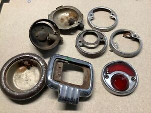 Vintage Lamp Parts Lot Tail Light Bezels Ford Tag Early Auto Truck