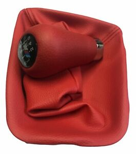 Bmw E36 Shift Knob With Ring Gaiter Boot Set Red Leather 5 Speed