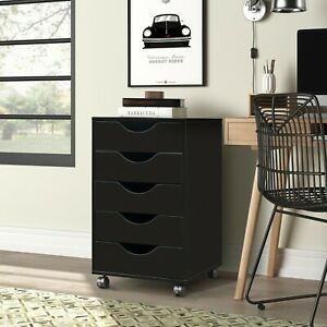 5 Drawer Mobile Storage Cabinet With Locking Casters Home Office Modern Black Us