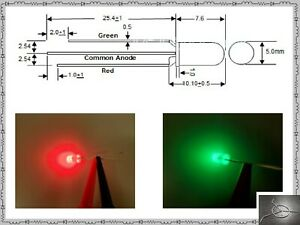 10 Of 5mm Super Bicolor Green Red Led N500tglr2d T1 3 4 Diffused Common Anode