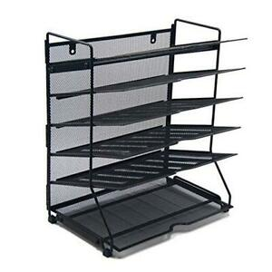 6 Tier Mesh Desktop Tray Organizer Office Or Home wall Mount File Tray Holder