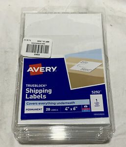 6 Pck Avery Trueblock Shipping Labels 20ct 4 x6 5292