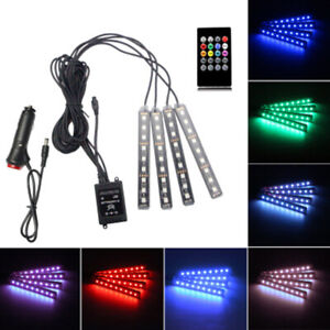 4pcs Rgb Car Led Light Strip Interior Atmosphere Lamp Remote Control For Cars Us