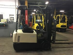 2016 Crown 4000 Lb 3 Wheel Electric Forklift With Ss And Triple Mast