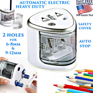 Automatic Electric Pencil Sharpener Dual Hole Heavy Duty Battery Operated Safety