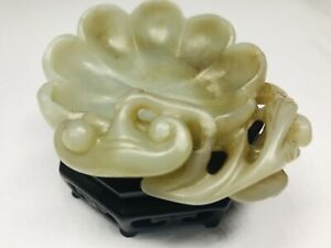 Chinese Qing Dynasty Celadon Jade Carved Lobed Brush Washer