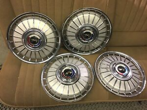 1962 Ford Galaxie Fairlane Set Of 4 Hubcaps 62 Oem Wheel Cover Vintage