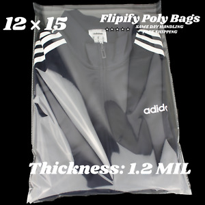 12x15 Clear Resealable T shirt apparel Self Seal Lip Tape Poly Plastic Bags