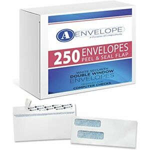 250 Double Window Self Seal Security Check Envelopes Compatible Quickbooks