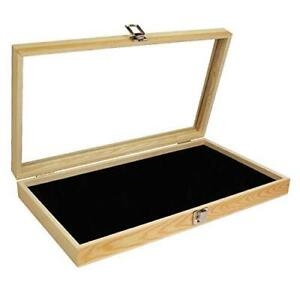 Mooca Natural Wood Jewelry Display Case Accessories Storage Box With Metal