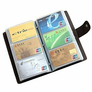Leather Credit Card Holder Business Id Card Case Book Style 90 Count Black