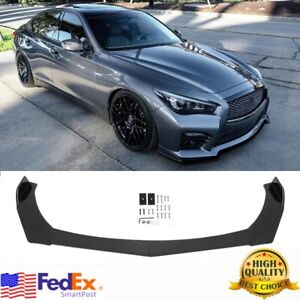 For Infiniti Q50 Q60 Sport Base G37 G35 Gloss Black Front Bumper Lip Spoiler Us