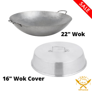 22 Inches Hand Hammered Cantonese Wok With 16 Inches Aluminum Wok Cover