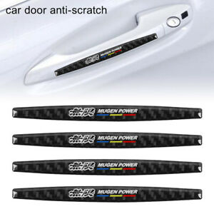 4pcs Mugen Carbon Fiber Anti Scratch Badge Car Door Handle Cover Trim