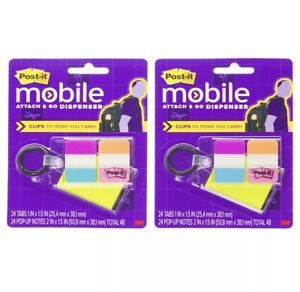 Post it 2 Pack 3m Attach Go Tab Dispenser Keychain Sticky Note Flags Office