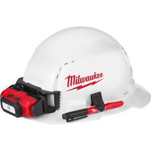 Milwaukee Full Brim Vented Hard Hat W Ratchet Suspension Bolt Access White