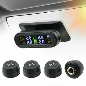 Wireless Solar Tpms Lcd Car Tire Pressure Monitoring System 4 External Sensor Us
