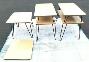 3 Awesome Vintage Mid Century Modern Hairpin Leg End Tables Look