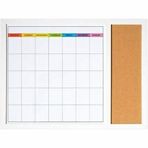 Dry Erase Calendar Board Wall 18in X 24in Magnetic Whiteboard With Small And