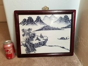 Blue White Chinese Porcelain Plaque Panel Framed Ceramic Wall Hanging