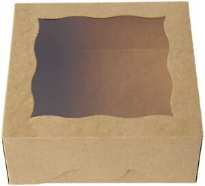 6 Brown Bakery Boxes With Pvc Window For Pies And Cookies