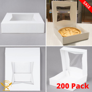 200 Pack White Square Pie Pastry Bakery Box With Auto popup Window Durable New
