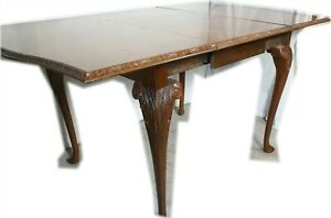 Carved Walnut British Slide Draw Antique Queen Anne Drop Leaf Table English