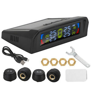 Car Tire Pressure Monitoring System Lcd Solar Wireless Tpms 4 External Sensors