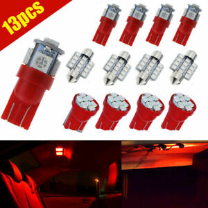 13pcs Red Led Lights Interior Package Kit For Car Dome License Plate Lamp Bulbs