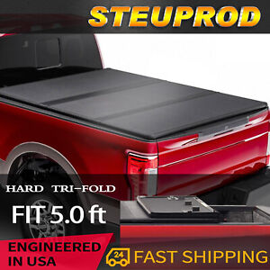 5 Ft Hard Tri fold Tonneau Cover For 2005 2015 Toyoto Tacoma Truck Bed