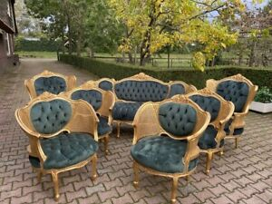 French Louis Xvi Sofa Set With 6 Chairs In Green Worldwide Shipping