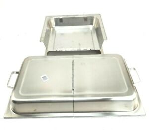 Full size Stainless Steel Solid Steam Table Hotel Folding Pan Covers 2 pack Used