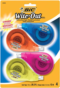 Bic Wite out Brand Ez Correct Correction Tape 4 count