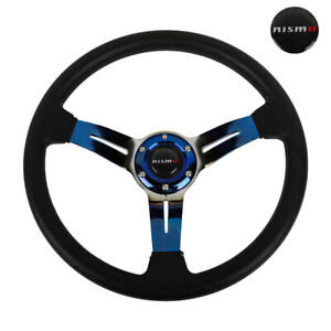 350mm 14 Deep Dish Racing Nismo Black Steering Wheel Leather burnt Blue Spoke